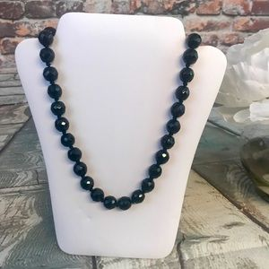 Jewelry - Vintage Black Glass Beaded Necklace